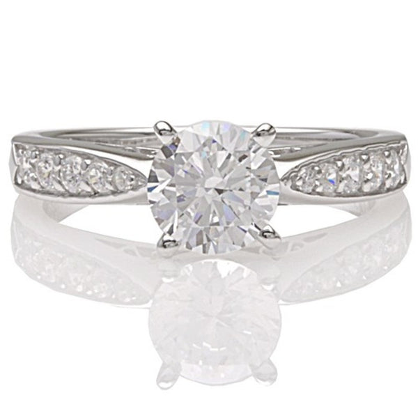 Engagement Ring with Tapered Band