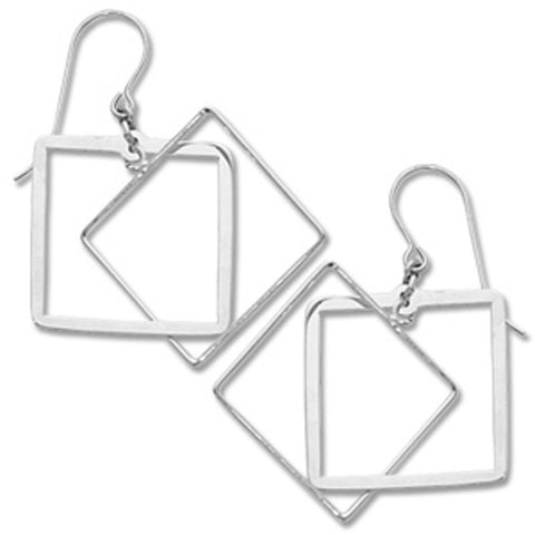 Sterling Silver Double Square Drops