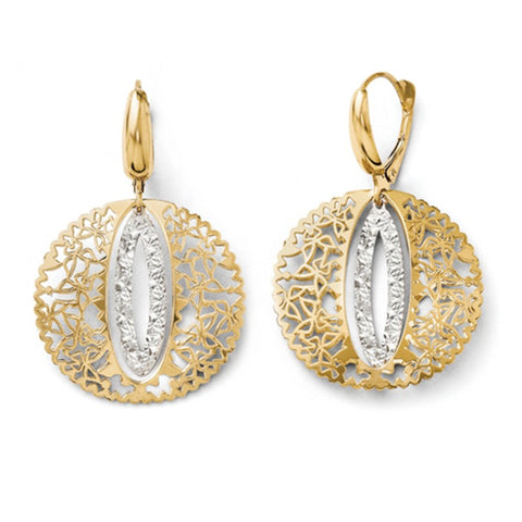 Open Work Yellow Gold Discs with White Gold Accents