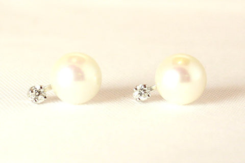 Pearl Studs with Diamond Accent