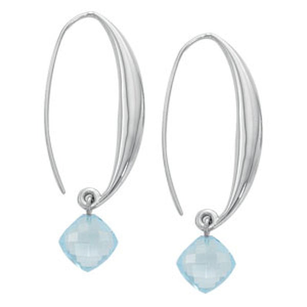 Puffed Sweep Earrings with Blue Topaz