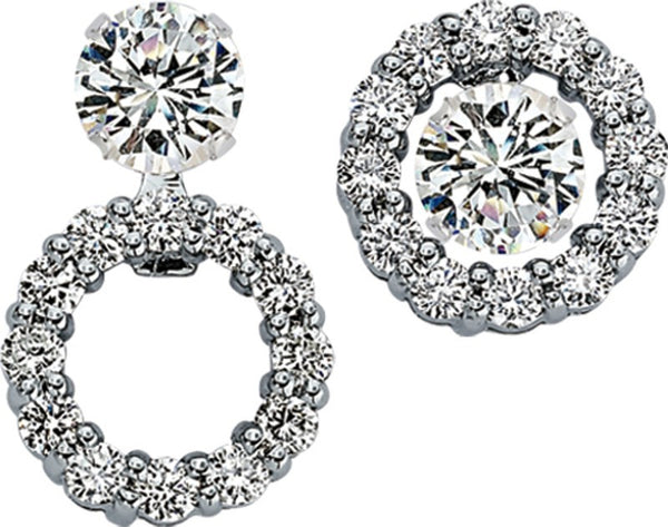 Convertible Stud or Drop Round Diamond Halo