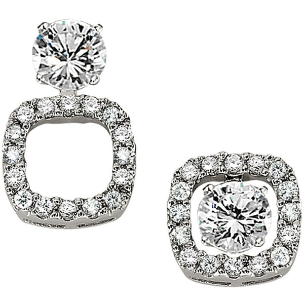 Convertible Stud or Drop Square Diamond Halo