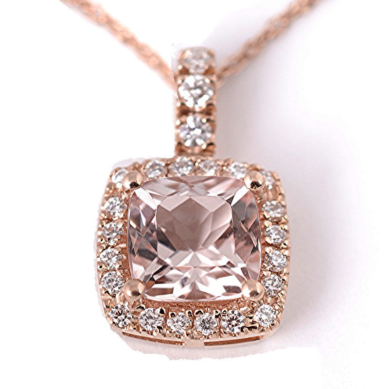 rose gold earth brilliant halo top morganite diamond pendant necklace