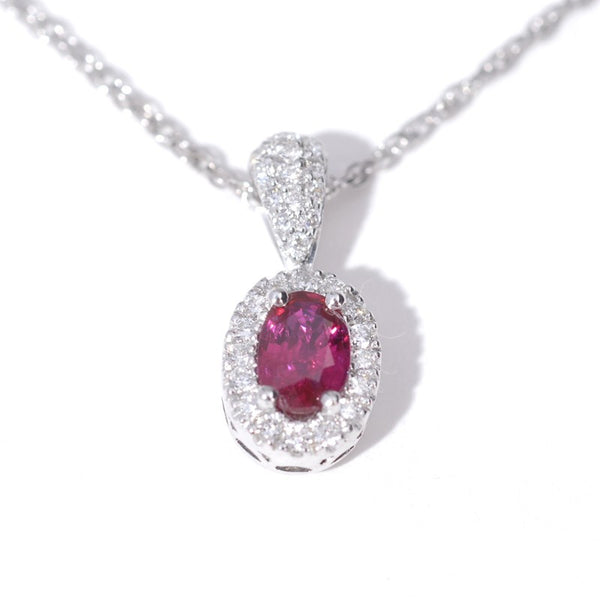 Oval Ruby and Diamond Pendant