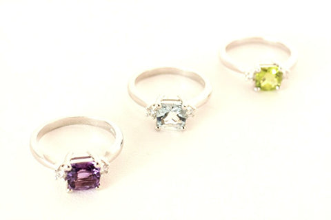 Amethyst, Aquamarine and Peridot Rings