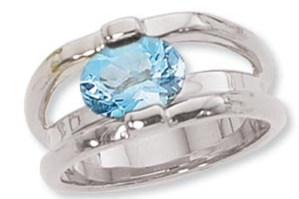 Modern Blue Topaz Ring