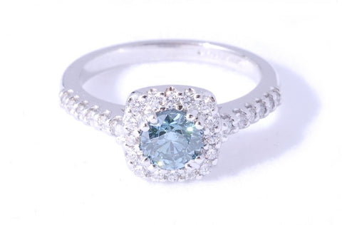 Teal Blue Diamond Ring
