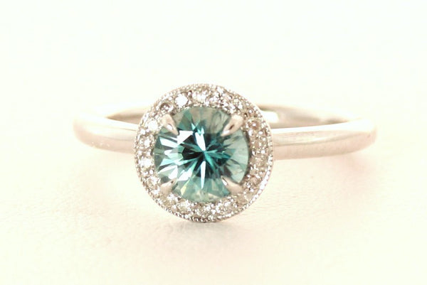 Round Blue Zircon with Diamonds