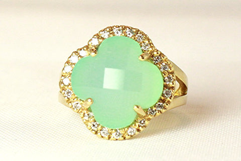 Quatrefoil of Chalcedony and Diamonds