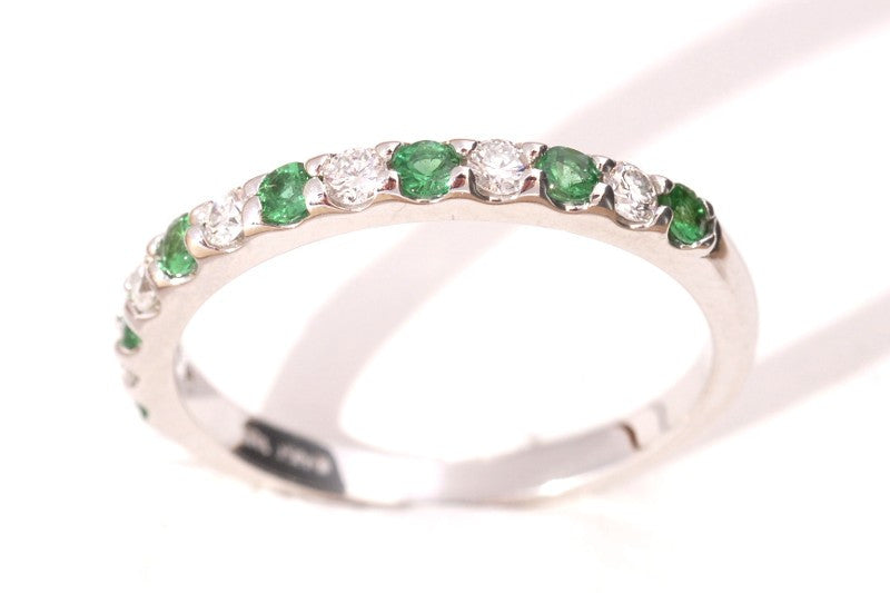 ring diamond and gold bands eternity anniversary pid white rings emerald band gemstone