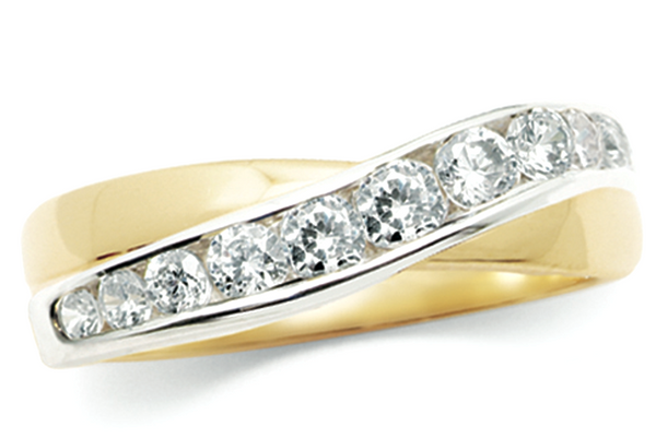Criss Cross Yellow Gold and Diamond Ring