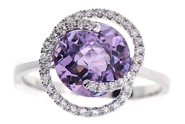 Pink Amethyst and Diamond Ring