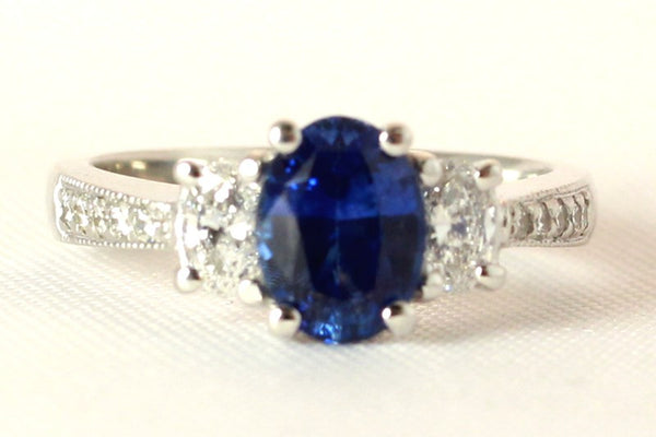 Oval Sapphire with Diamonds