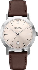 Dress Collection, Bulova Men's Watch - Ivory Face and Brown Leather Band