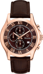Dress Collection, Bulova Men's Watch - Brown Face and Brown Leather Band