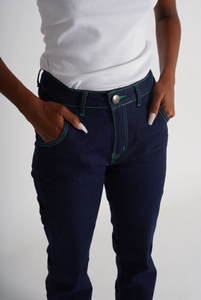 GREEN CONTRAST STITCH JEANS