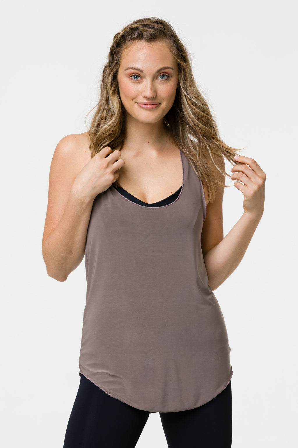 GLOSSY V TANK TOP - CHAMPAGNE ONE SIZE