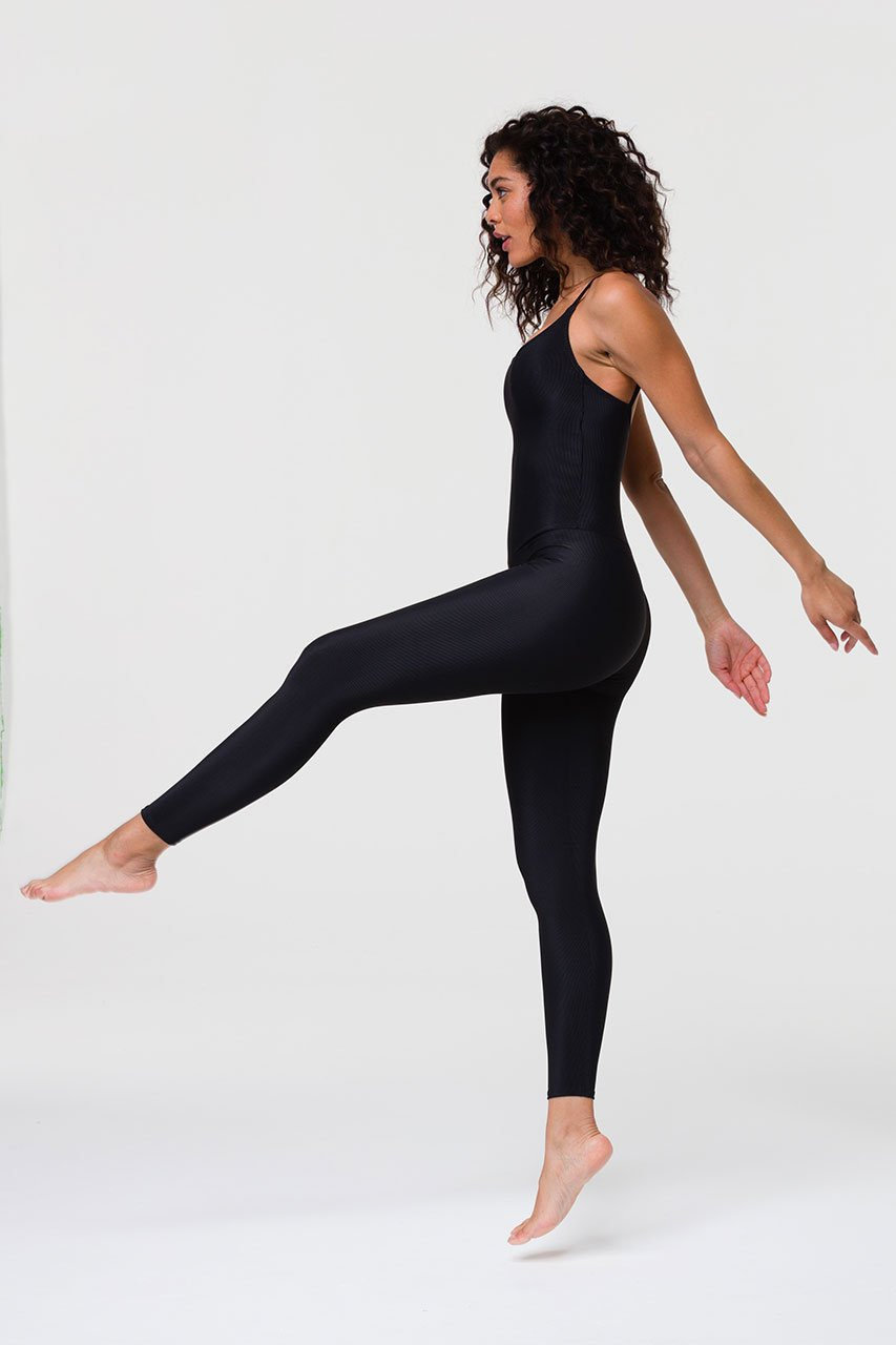 RIB LEOTARD - BLACK RIB