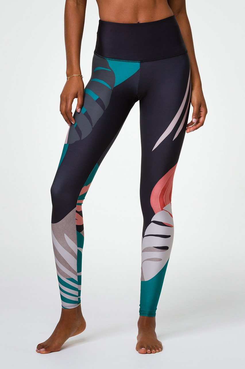 HIGH RISE GRAPHIC LEGGING - MIDNIGHT PALM