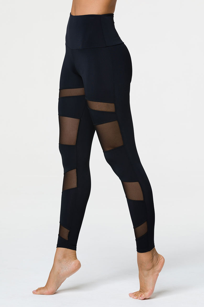 HIGH RISE BONDAGE LEGGING - BLACK/BLACK MESH
