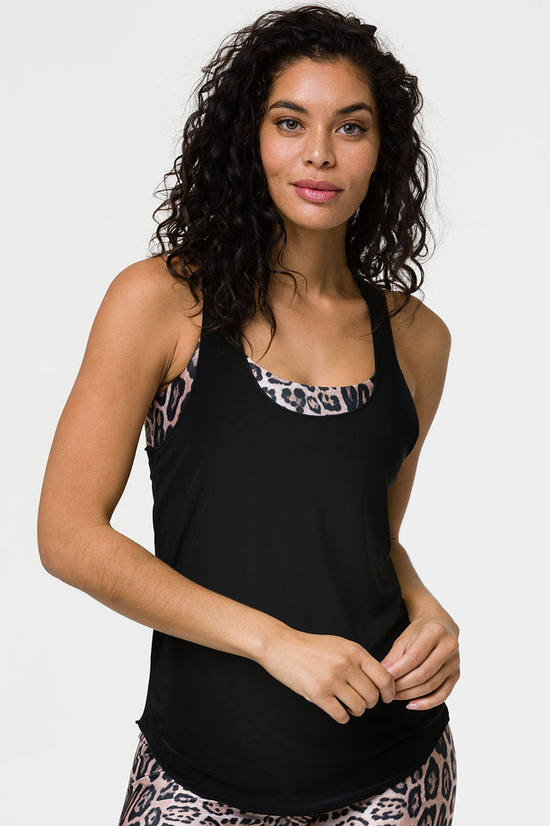 GLOSSY FLOW TANK TOP - BLACK ONE SIZE