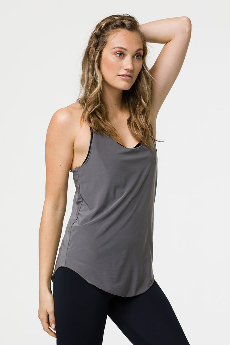 GLOSSY FLOW TANK TOP - METAL ONE SIZE