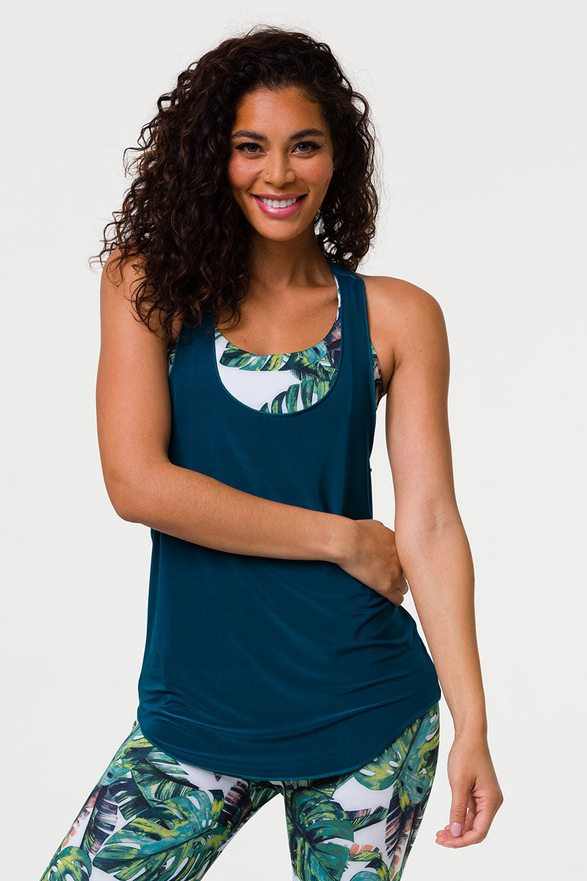 GLOSSY FLOW TANK TOP - TEAL GREEN ONE SIZE