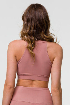 HIGH NECK CROP TOP - FAWN RIB