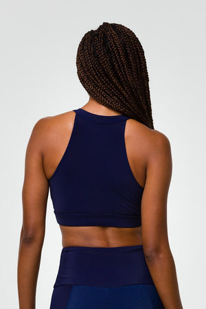 HIGH NECK CROP TOP - MARINE NAVY RIB