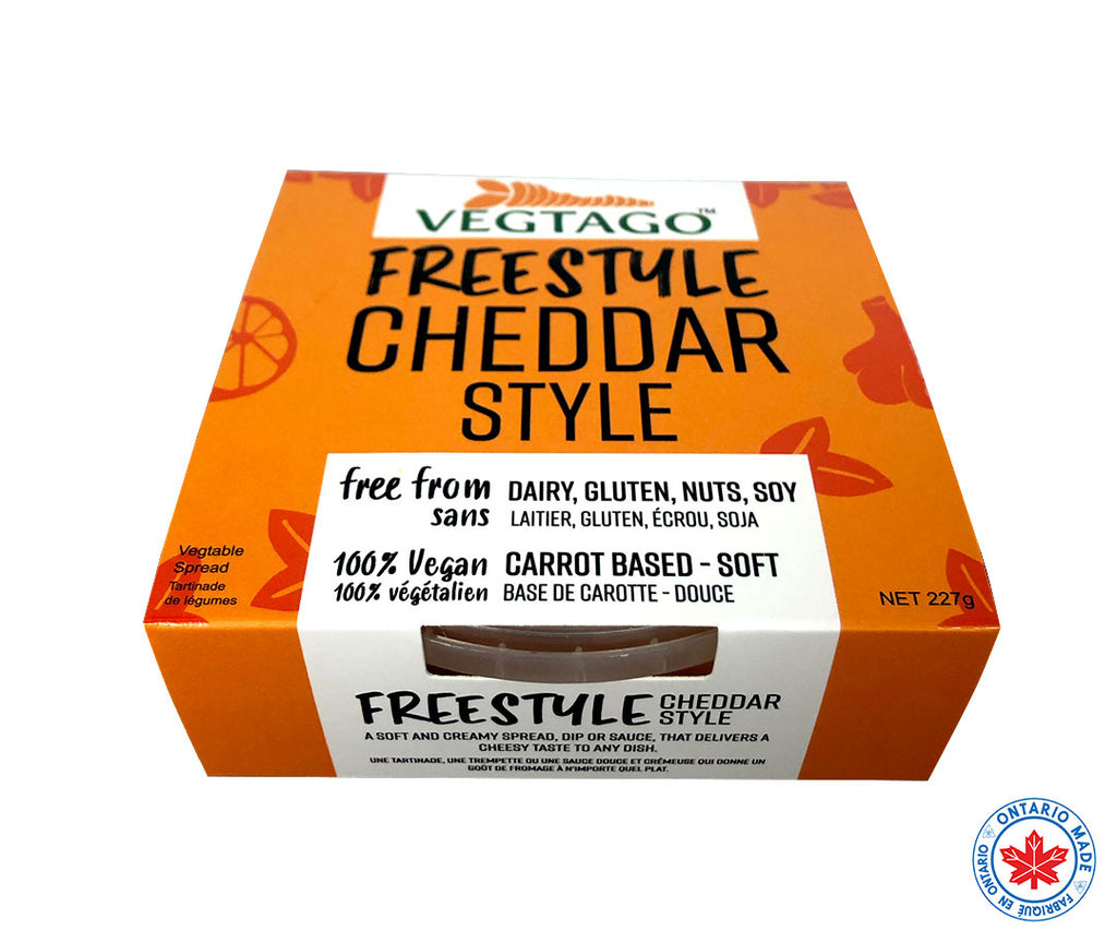 Vegan Cheddar Cheese made in Kitchener, Ontario. Nut-free Vegan Cheese. Soy-free Vegan Cheese. Gluten-free Vegan Cheese. Dairy-free Vegan Cheese.