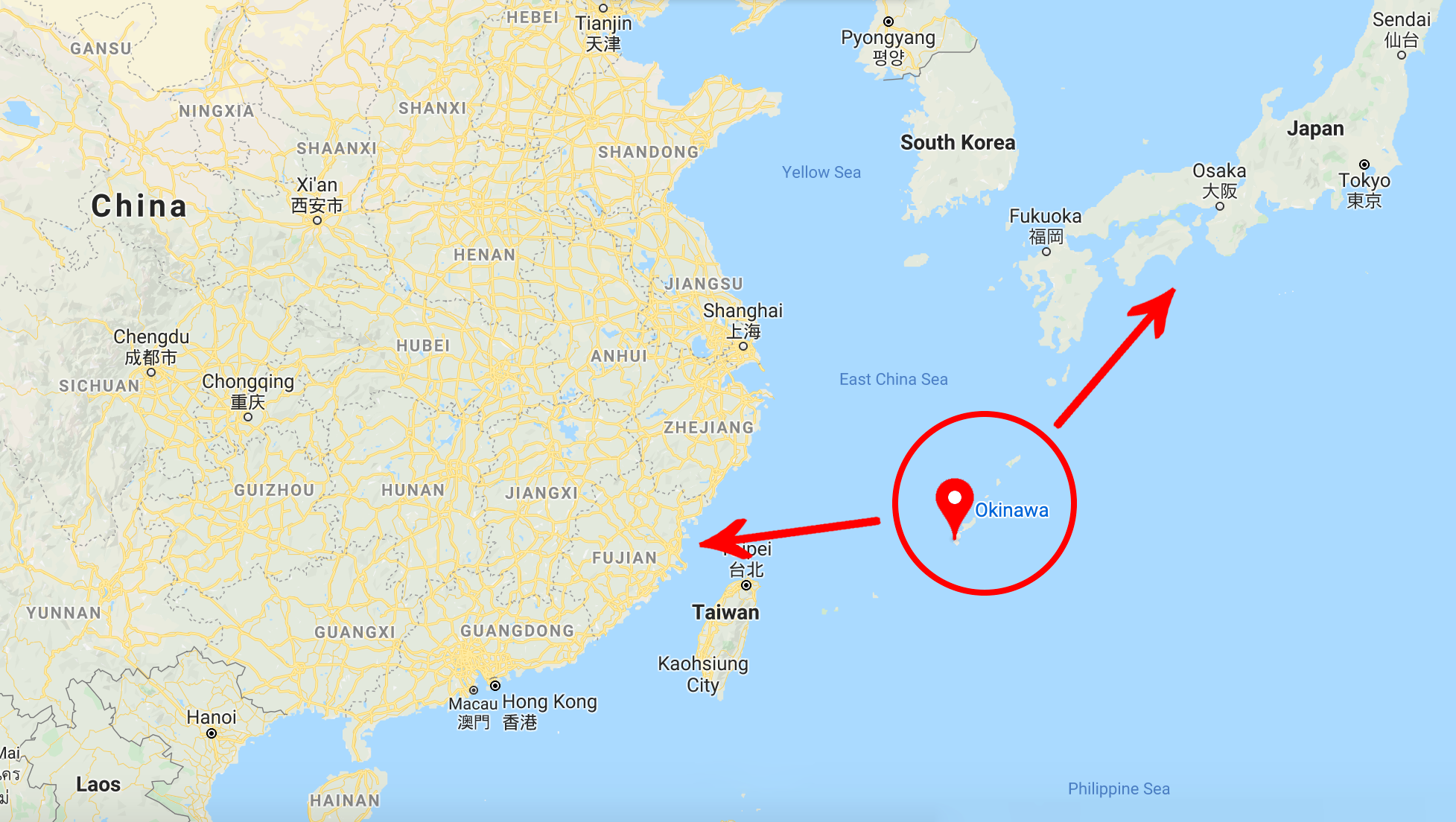 Photo 14 Courtesy: Google Maps, Map of East Asia, where Okinawa can be seen in relation to Japan and China.