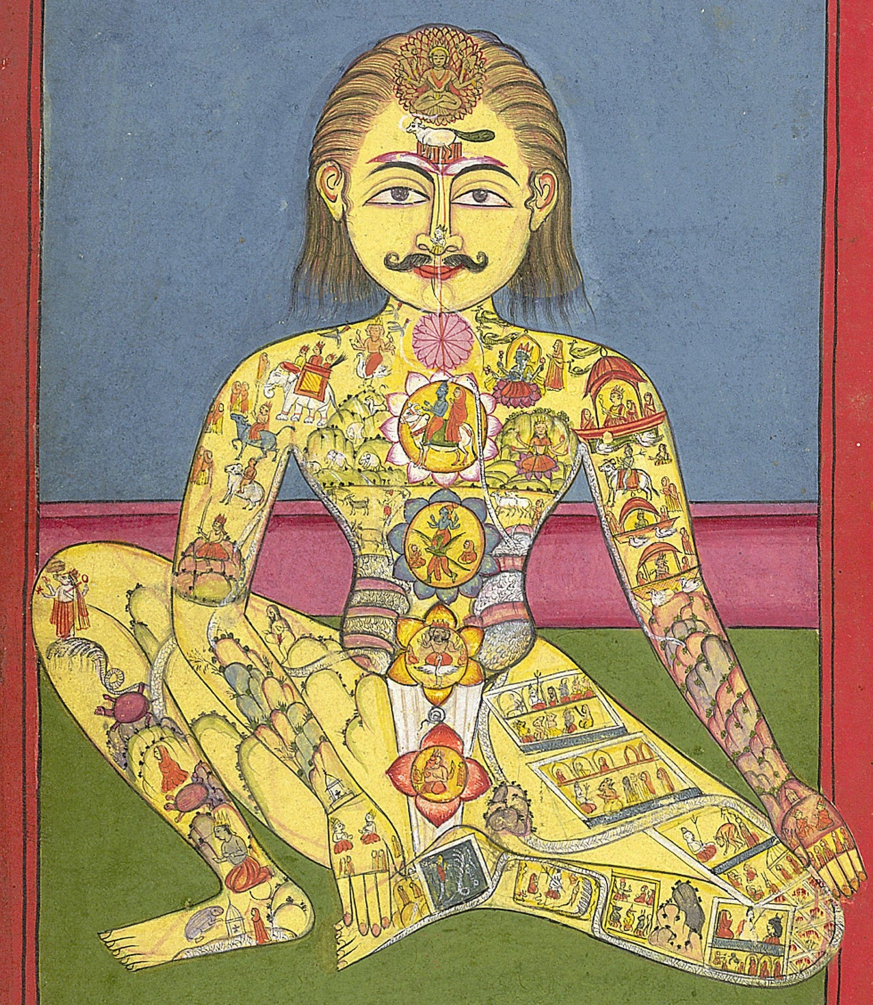 Photo 4 courtesy: Wiki Commons, Sapta Chakra, from a 118-page Yoga manuscript in the Braj Bhasha language, 1899.