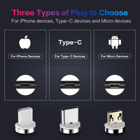 There are 3 plugs option for this Magnetic Charging Cable for different phone models