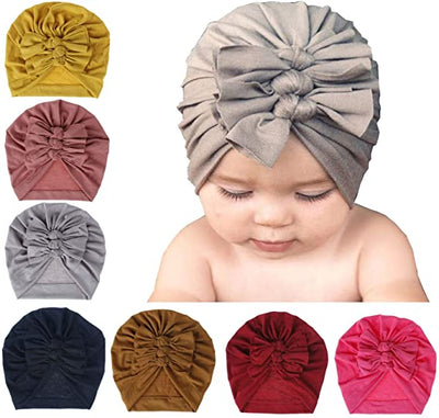 Nursery Beanie Headwrap Baby Girl Hat Hospital Hat Infant 7pcs Baby Bow Hats