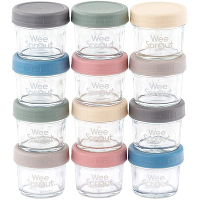Glass Baby Food Storage Jars - 12 Set