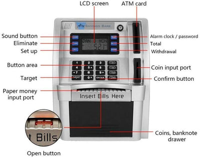 ATM Savings Bank Digital Piggy Money Bank Machine
