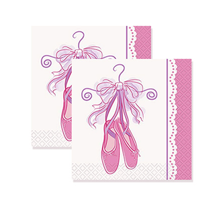 Ballet Slipper Beverage Napkins 16 Count, Ballerina Party, Ballerina Birthday Decor, Ballerina, Ballet Slippers