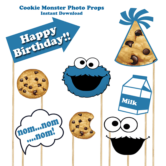 Cookie monster 9 piece photo prop set, cookie monster party, cookie monster, cookie monster party supplies, photo props, cookie monster printable, cookie monster birthday, cookie monster 1st birthday