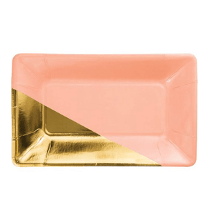 coral/pink gold rectangle snack plates 8 count, coral plates, pink plates, gold, bridal shower party plates, engagement party, gold plates