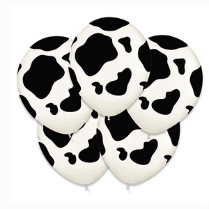 Cow Print Latex Balloons 5 Count
