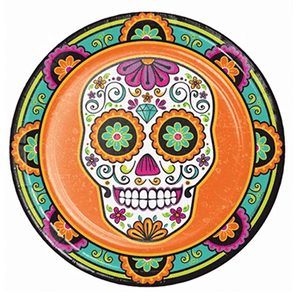Day of the Dead Halloween Party Plates 8 Count, dias de los muertos, Halloween, Halloween Party Plates, Halloween party supplies, day of the dead