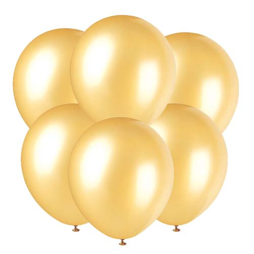 Gold latex 12 inch party balloons 6 count