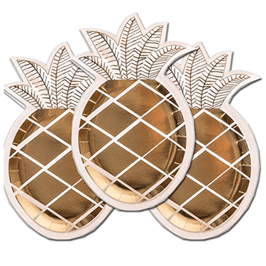 Gold pineapple dessert plates 8 count, Hawaiian Luau, Pool Party, Pineapple plates