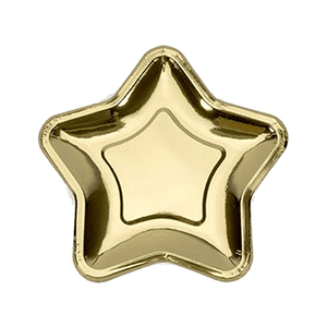 Gold Star Party Plates 12 Count