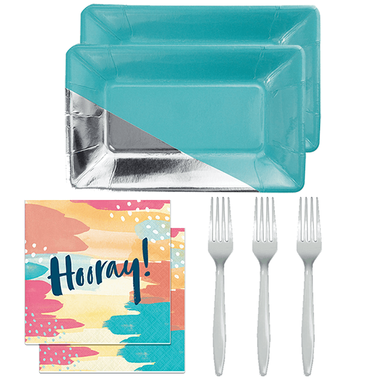Party set, snack plates, teal and silver, hooray napkins, sweet sixteen birthday, engagement party, baby shower, baby boy shower, birthday party ideas, party supples, fun birthday, teal birthday, wedding