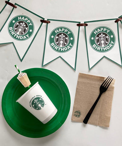 Starbucks Banner, Starbucks Birthday Banner, Starbucks Party Theme, Starbucks, Starbucks Custom Banner, Starbucks Birthday, Banner, Coffee