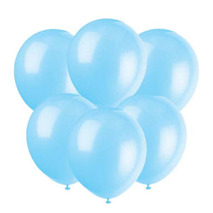 Baby blue latex 12 inch party balloons 6 count