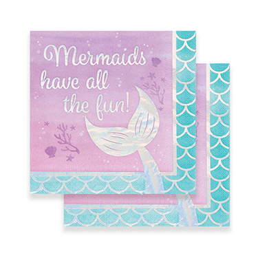 Mermaid party napkins 16 count, mermaid party, mermaid theme birthday, mermaid napkins, mermaid party decor