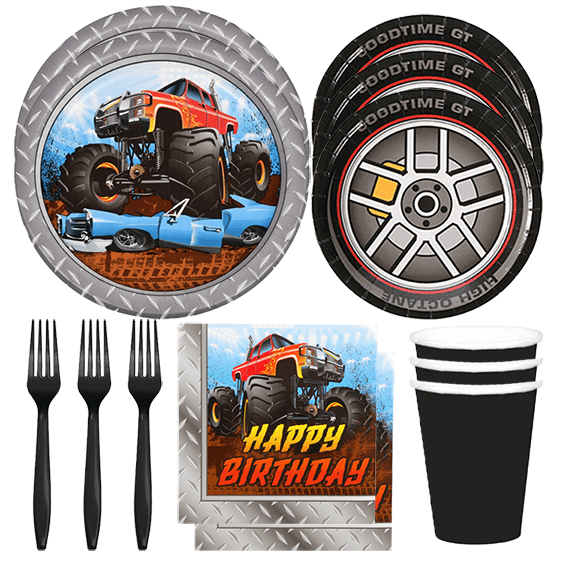 Monster Truck Party Box, Monster Truck Party Plates, Monster truck Dessert Plates, Monster Truck Party Napkins, Monster Truck Party, Monster Truck Party Ideas, Monster Truck Birthday, Monster Truck Party Supplies